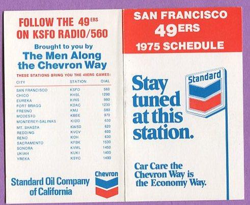 1975 NFL San Francisco 49ers Football Schedule K0453